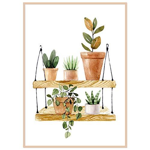 kizibi® Pflanzen Poster Skandinavisch | DIN A2 Kaktus Premium Poster für Wohnzimmer, Küche oder Schlafzimmer | Kaktus Deko Wandbild Minimalistisch | ohne Rahmen