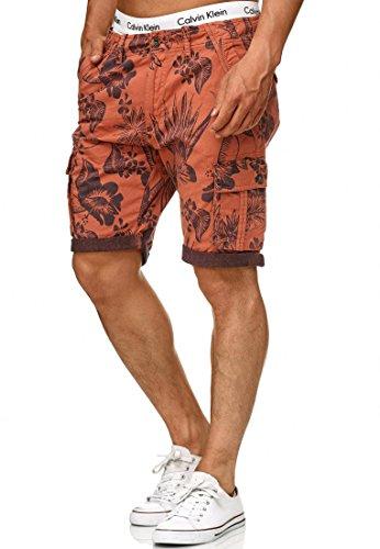 Indicode Herren Albert Cargo Shorts Hawaii mit 6 Taschen aus 100% Baumwolle | Kurze Hose Regular Fit Bermuda Cargoshorts Herrenshorts Short Men Pants Cargohose kurz für Männer meca orange M