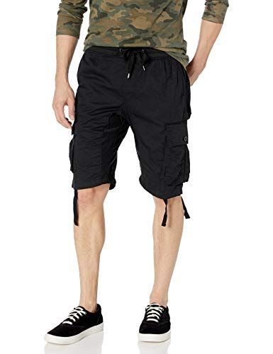 Southpole Men's Jogger Shorts with Cargo Pockets in Solid and Camo Colors, Black(New), Medium