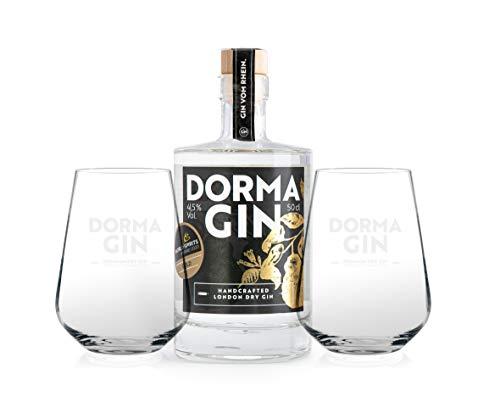 DormaGIN Premium Gin Geschenkset I 1x 500 ml Handcrafted Dry Gin I 2 x DormaGIN-Glas von Ritzenhoff in Geschenkbox