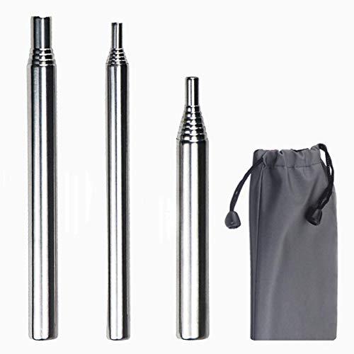Juego de 3 piezas de fuelle de acero inoxidable ajustable, tamaño de bolsillo, plegable para fogata, herramienta para construir fuego, tubo de fuelle para acampar al aire libre, picnic, senderismo