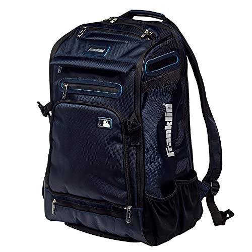 Franklin Sports MLB Traveler Elite Baseball Backpack – Baseball Bag or Softball Backpack – Stores Batting Glove, Helmet, Cleats and More - Water-Resistant Equipment Bag – Premium Batpack – Navy