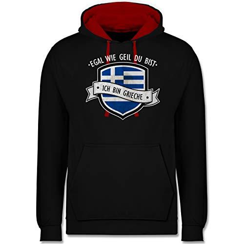 Shirtracer Länder - Egal wie geil du bist - ich Bin Grieche - 3XL - Schwarz/Rot - Hoodie Grieche - JH003 - Hoodie zweifarbig und Kapuzenpullover für Herren und Damen