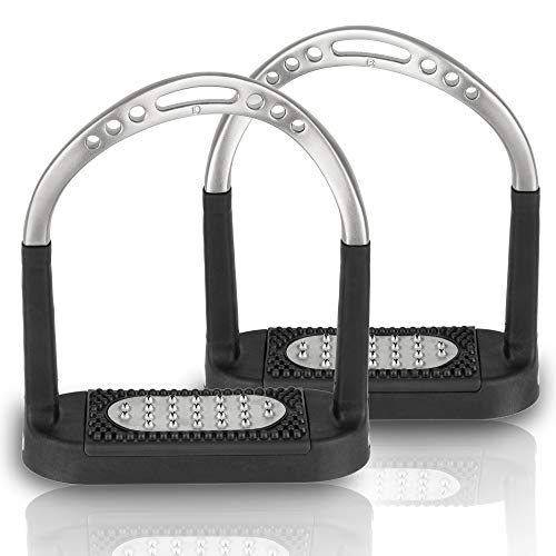 Sprenger Estribo giratorio Flexcite Grip para aliviar la tensión de los tobillos. Arco con una amplia superficie antideslizante de 120 mm, cuidadoso con las articulaciones, acero inoxidable mate
