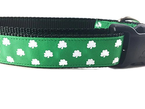 Spring Dog Collar, Caninedesign, Valentine, St Patricks Day, Easter, 1 inch Wide, Adjustable, Nylon, Medium and Large (Shamrocks, Large 15-22')