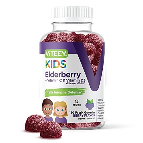 [120 Count] Sambucus Black Elderberry Gummies Formulated For Kids - Immune Booster Plus Vitamin C And Vitamin D - Herbal Dietary Supplements, Gelatin Free, Pectin Based - Berry Flavored Chewable Gummy