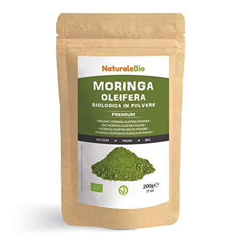 Moringa Oleifera Bio Pulver [ Premium-Qualität ] 200g. Organic Moringa Powder, Original und Rein. Blätter des Moringa Oleifera Baum. NaturaleBio