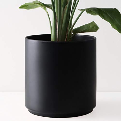 Peach & Pebble 12' Ceramic Planter (15', 12', 10', 8' or 7') - Large Black Plant Pot, Hand Glazed Indoor Flower Pot for All Indoor Plants (White, Black, Melon or Gold) - Black, 12 inch