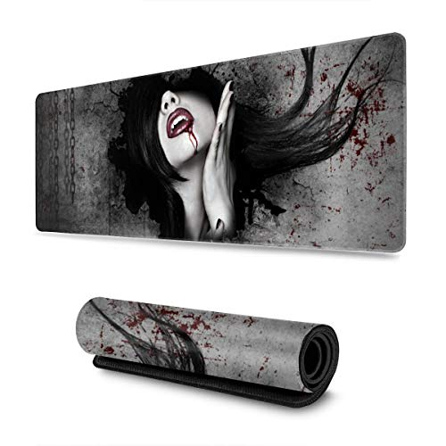 Dark Fantasy Gothic Women Vampires Blood Face Extended Gaming Mouse Pad Large Mousepad with Stitched Edges, Keyboard Pads Mat for Gamer Computer Office Home 31.5x11.8 in