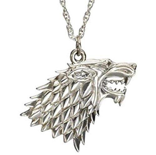 """Collana ispirata alla saga """"Il Trono di Spade"""", Stark Dire Wolf, color argento con ciondolo"""