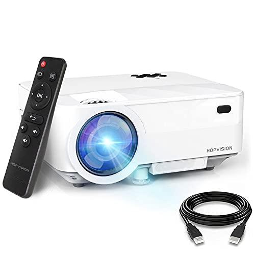 """HOPVISION Mini Proiettore 1080P Full HD,Video Proiettore Portatile 5500 Lumen con Display da 240"""",Proiettore LCD per 90000 ore,Compatibile con HDMI AV USB SD VGA"""