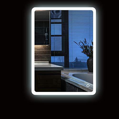 Turefans Increíble Espejo de iluminación para baño, Interruptor de Toque Espejo, protección del Medio Ambiente y Ahorro de energía, 5050LED Blanco, Nuevo listado, Esquinas Redondeadas (50 * 70cm)