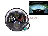 7インチLED アンチスクラッチ機能付きレンズ ヘッドライトハローリングDRLヘッドランプ ハーレーダビッドソンジープラングラーJK LJ CJおよびすべてのオートバイに適用 (モデル60:黒)