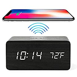 Wooden Alarm Clock with Wireless Charging iPhone Samsung, Time, Date and Temperature, 3 Alarms, Sound Control, Adjustable Brightness LED Digital Table, Desk or Bedside Clock