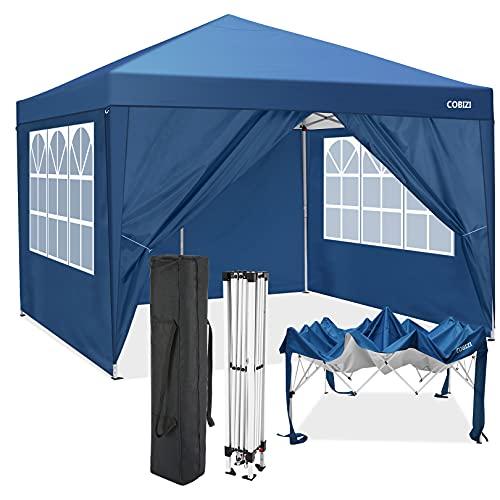 Carpa Plegable 3 x 3 m Gazebo Impermeables Carpas de Jardin Pabellón para Exteriores Pergola Camping Cenadores, con 4 paredes laterales