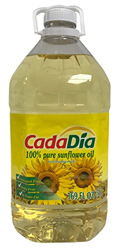 CadaDía 100% Pure Sunflower Oil ,First Cold Press, NON GMO, Kosher, Good for Frying, Baking, and Salads.5 L (169 Fl Oz) (1.32 GAL)