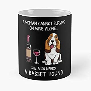 Basset Hound And Wine Funny Dog Classic Mug - The Coffee Mugs For Halloween, Holiday, Christmas Party Decoration 11 Ounce White-decathlon.