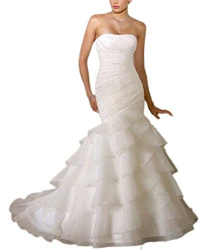 CoCogirls Tragerloze zeemeermin-jurk bruiloftsjurk kandelaar ruches gerecht trein wit bruidsjurk bruidsjurk