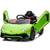 Kidzone Kids Electric Ride On 12V Licensed Lamborghini Aventador Battery Powered Sports Car Toy with 2 Speeds, Parent Control, Sound System, LED Headlights & Hydraulic Doors - Green
