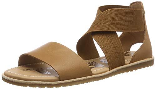 Sorel - Women's Ella Sandal, Leather or Suede Sandal with Stretch Straps, Camel Brown, 10.5 M US