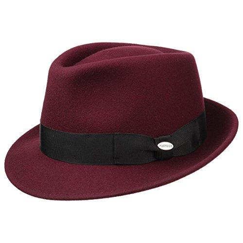 Mayser Chapeau Trilby Classique Chapeau de Feutre Chapeau pour Homme (55 cm - Bordeaux)