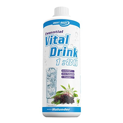 Best Body Nutrition - Essential Vital Drink, 1:80, Holunder, 1:80, 1000 ml Flasche