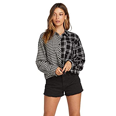 Volcom Women's Making Me Plaid Long Sleeve Button Down Shirt