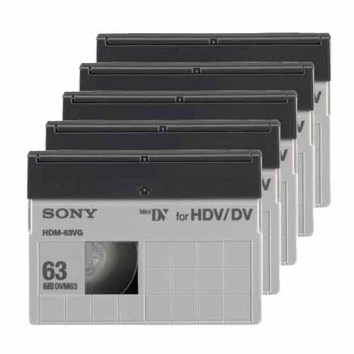 Lowest Prices! Sony HDM-63VG MiniDV/HDV 63min High Definition Data Tape Cartridge 5 Packs