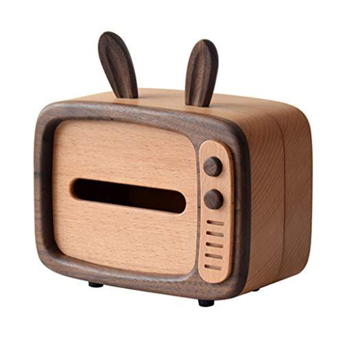 jiji Caja de pañuelos de madera de bambú, caja de pañuelos, bonita caja de servilletas, caja dispensadora de servilletas para baño, cocina y oficina (color: A)