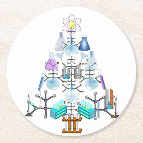 Posavasos para bebidas base de corcho, Oh Chemistry, Oh Chemist Tree Round Coaster Set de 4, alfombrilla para el hogar y la cocina, divertido regalo para el hogar, regalos de Navidad