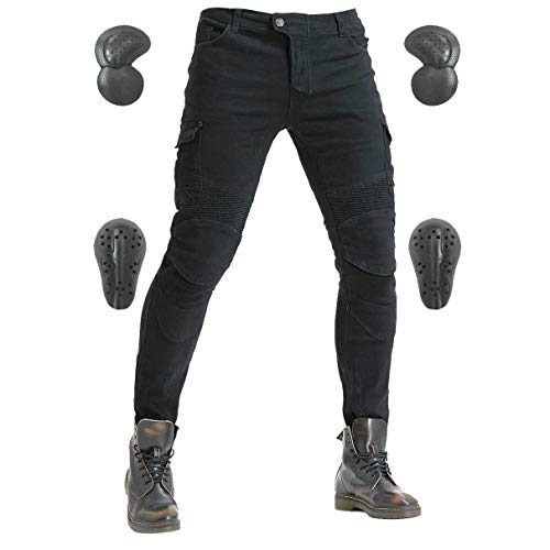 Men's Motorcycle Riding Pants Denim Jeans Protect Pads Equipment with Knee and Hip Armor Pads VES6 (Black, L=32)