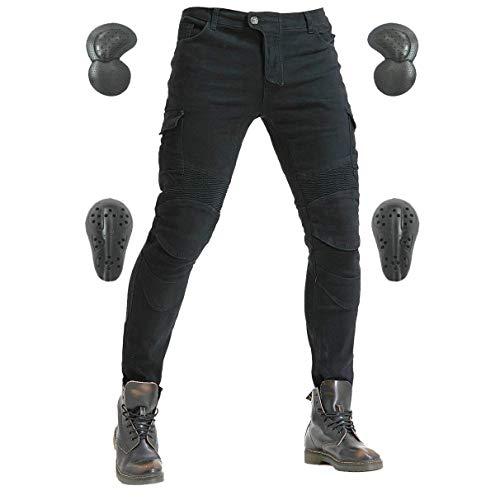 Pantalones de equitación para hombre, vaqueros de mezclilla, protección de equipos con rodilleras y rodilleras