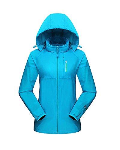 DianShao Mujer Hombre Impermeable Transpirable A Prueba De Viento Abrigo con Capucha Cremallera Chaqueta