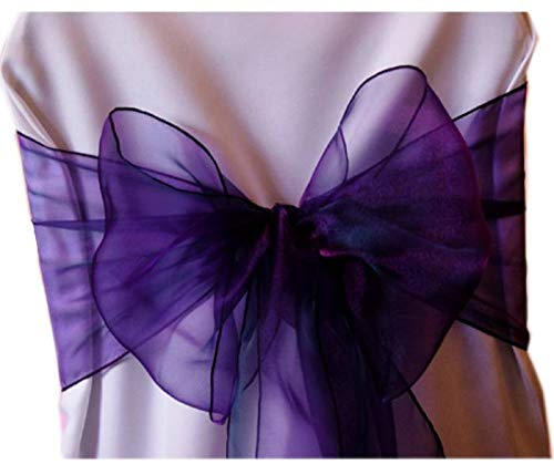 mds Pack of 100 Organza Chair Sashes Bow Sash for Wedding and Events Supplies Party Decoration Chair Cover sash -Cadbury Purple