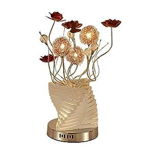 DGHJK Lampe de Bureau/Lampes de Bureau Lampe de Chevet de Chambre à Coucher Lampe de Chevet de Style Nordique en Fil d'aluminium Vase LED Lampe de Table de Mariage Lampe de Table Romantique veilleuse