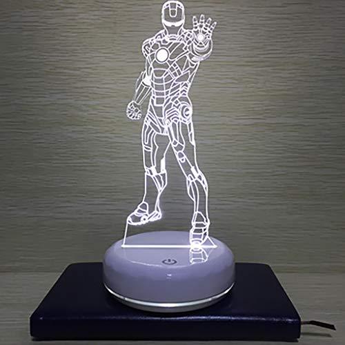 North cool Création Autrichienne Ère Manway 3D Iron Man Nuit Lampe Lampe LED Lampe USB Lampe De Chevet Lampe De Chevet Lampe De Chambre Cadeau D'anniversaire (Couleur : Blanc)