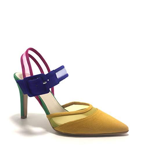 LODI RAICEL, Zapatos Destalonados, Puntera Cerrada, Multicolor con Base Mostaza, de tacón, para Mujer.