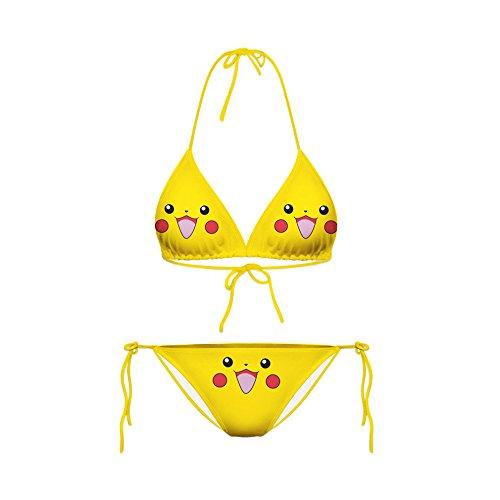 HOSD Neuer süßer Baby Smiley Pikachu Emojis Ausdruck Mini Zweiteiliger sexy Strap Bikini