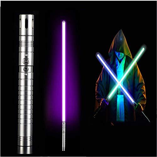 NENGGE Sable láser Rojo de Darth Vader Enciende la Espada Espada de Metal Force FX Adult Showdown Negra Sable de luz con 3 Efectos de Sonido,Gun Color,Purple