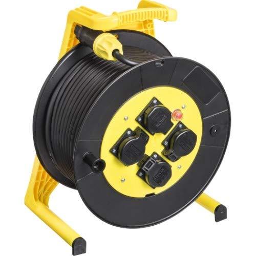 JUMBO® L Kabeltrommel mit 4 Steckdosen H07RN-F Querschnitt 3 x 2,5 mm², Leitungsfarbe schwarz, Länge 40 m, Farbe Trommel/Gestell schwarz/gelb