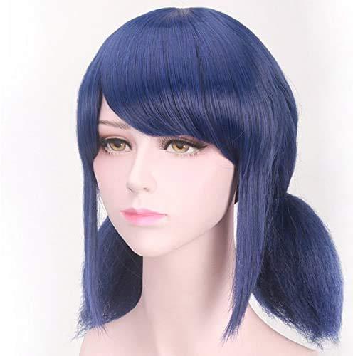 "Anime 14""Kids Cosplay peluca corta recta con doble coleta Pure azul oscuro sintético peluca para disfraz de Halloween cosplay peluca"