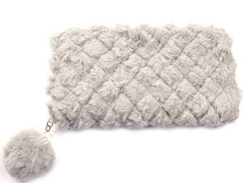 Dielay Dames Portemonnee Fluffy met Pompon Ritssluiting 19x10cm