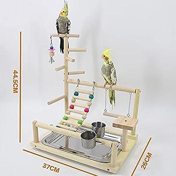 BCGT Pieds pour Cages à Oiseaux Étagère d'oiseaux en Bois, Aire de Jeux Gym Gym Perch Stand Swing Ladders, Centre d'activité pour perroquets