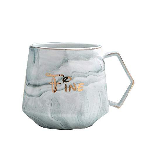 Wlijun Taza De Café, Taza De Cerámica, Taza De Oficina De 350 Ml con Cucharas Y Tapas Doradas, Tazas De Leche Reutilizables para El Hogar Ecológicas, Regalos De Empresa (Grey)