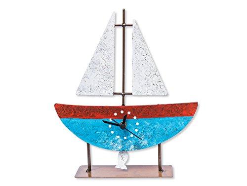 Oxidos Standuhr Fischerboot blau/rot - Recycling Uhr Pendeluhr - Fair Trade