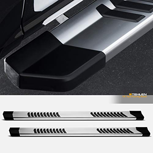 """Stehlen 733469494850 6"""" OE Series With Polymer Stripes Design Aluminum Running Boards - Polish Silver For 2015-2020 Ford F150 / 2017-2020 F250 F350 F450 F550 Superduty SuperCrew (Crew) Cab"""
