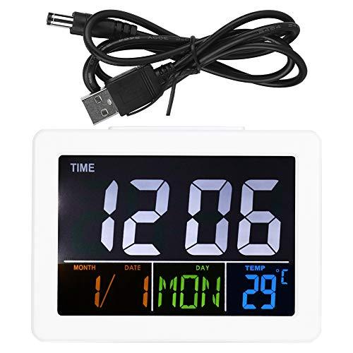 BOTEGRA Reloj Despertador Digital, Pantallas LCD multifunción, duraderos y fáciles de Usar, Relojes con Pantalla de Temperatura con Pantalla LCD electrónica para Mesa de Noche o Escritorio