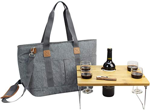 Picnic Basket Tote Set with Table | Picnic Shoulder Bag Set | Stylish All-in-One Portable Set | 4 Person Table Service | Cooler Bag for Camping | Insulated Tote Bag | Cooler Bag Business Gift [Grey]