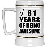 9th Birthday Square Root of 81 Years of Being Awesome - Beer Stein Jarra de Cerveza, de Cerámica - Regalo para Cumpleaños, Aniversario, Día de Navidad o Día de Acción de Gracias
