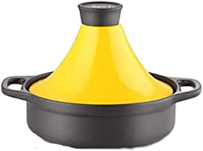 WZWHJ Yellow casserole, sunken lid, upright body, high temperature resistance, can be used for soup
